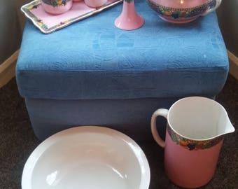 vanity washbowl jug and potty dressing table set bedroom vintage pink china