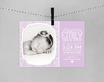 Birth Announcement Photo Card // Personalized Printable Modern Birth Announcement Photo Card // Birth Announcement // New Baby