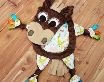 Horse lovey etsy pony horse lovey blanket farm animal nursery farm themed baby shower new negle Choice Image
