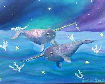Narwhals in Northern Seas, 11x14 original oil painting