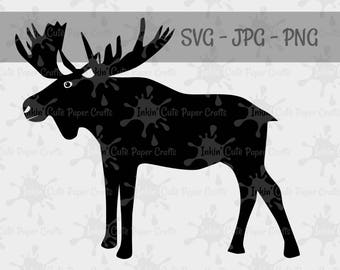 Moose Silhouette, Moose Clipart, Moose SVG file, Moose PNG, Woodland Animal Clipart, Forest Animal Cut Files, Moose Cut File, Woodland SVG