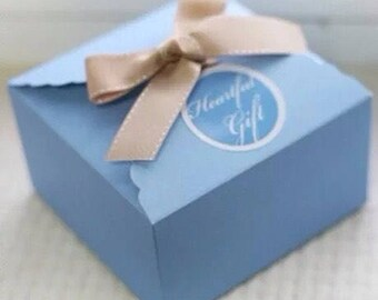 25x Blue Paper Boxes | Bomboniere Favour Box | Wedding & Party Christmas Gift Box for Chocolate Bakery Cookie Candy 9x9x5cm