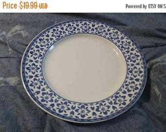 On Sale Johnson Brothers  Portland Style 10.25 inch Dinner/Chop Plate with Blue Rim and Blue and White Flowers