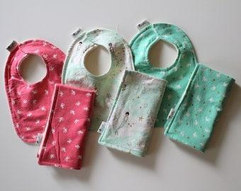 Girls Baby Bib and Burp Cloth, Newborn Gift, Baby Shower Gift, Organic Cotton