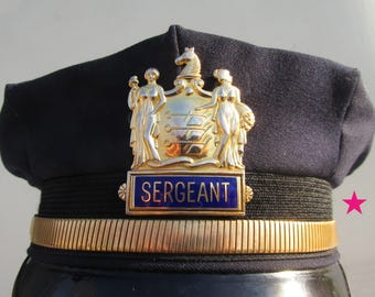 New Jersey Police Officer's Cap - Sergeant - Size 7 1/8th