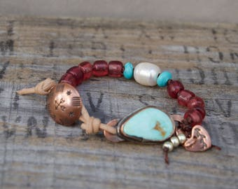 Copper Trade Bead Turquoise Bracelet. Kingman Turquoise . Leather .  Handmade  . Rustic . Earthy . Boho . Hand Stamped .  Bracelet