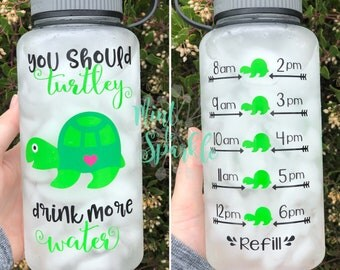 you should TURTLEY drink more water bottle with hourly time tracker