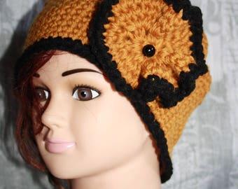 mustard beanie with crocheted flower