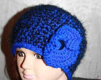 fancy hat, very warm, Heather blue and black