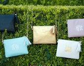 Monogrammed Purse Monogram Bag Clutch Removable Strap Kendall Vegan Leather