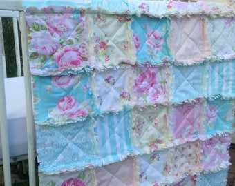 Crib Rag Quilt, Baby Quilt, Baby Girl Pink Blue Crib Rag Quilt Yellow Ivory Pastels Crib Bedding Baby Quilt Nursery