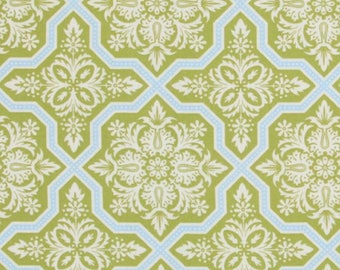 CLEARANCE Tile Flourish in Green Fabric Joel Dewberry Heirloom Quilters Cotton Green Blue 1 Yard