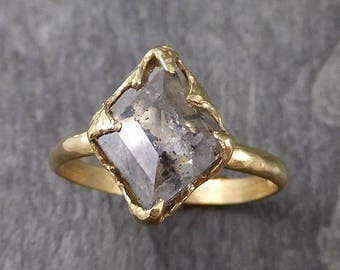 Fancy cut salt and pepper Diamond Solitaire Engagement 18k yellow Gold Wedding Ring Diamond Ring byAngeline 1043