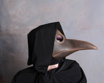 Plague Doctor Mask, Leather Mask, Steampunk. Halloween Mask, Raven, Cosplay, Costume, Brown