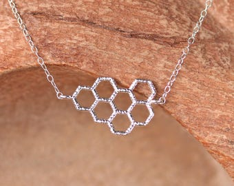Honeycomb necklace - save the bees - bee necklace - donation