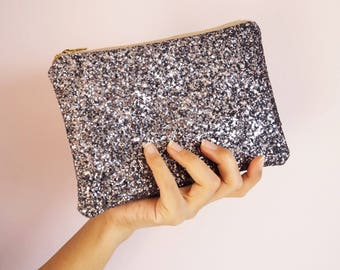 Steel Silver Glitter Makeup Bag, Sparkly Silver Cosmetic Bag, Silver Glitter Travel Bag, Sparkly Silver Makeup Bag, Silver Bridesmaid Bag,