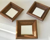 Hand Carved Wood Framed Wall Mirrors Set of 3 8x8in Amazing Solid Wood Frames Medium Stain