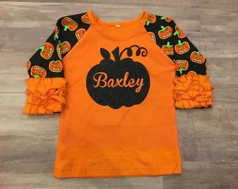 Halloween pumpkin ruffle icing shirt