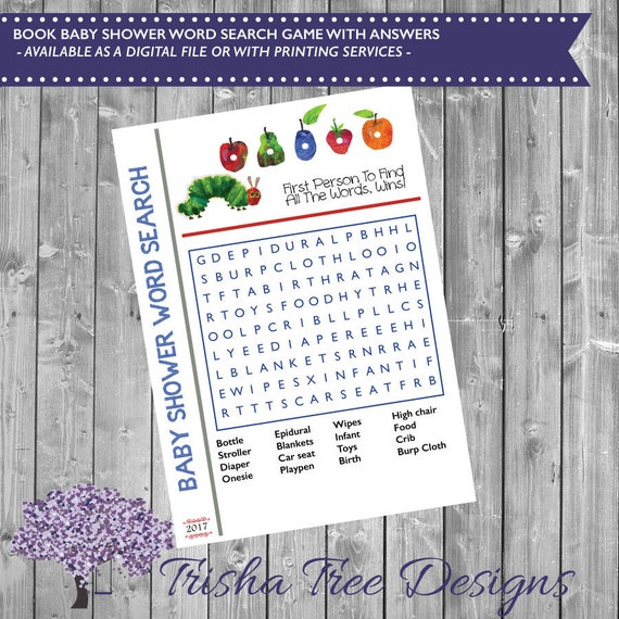 Book Themed Baby Shower Word Search Book Shower Game Baby