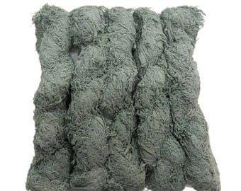 SALE New! Fuzzy Cotton Fringe Yarn, Lichen green