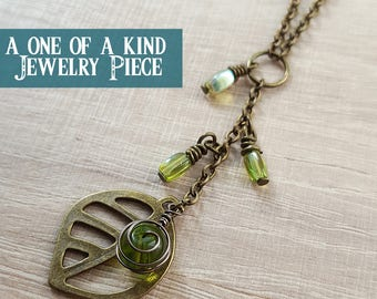 legend of zelda korikir emerald korok leaf kokiri forest inspired charm necklace, loz charm pendant, one of a kind zelda jewellery