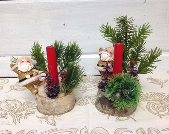 Pair of Vintage Gold Santa Birch Candle Holders