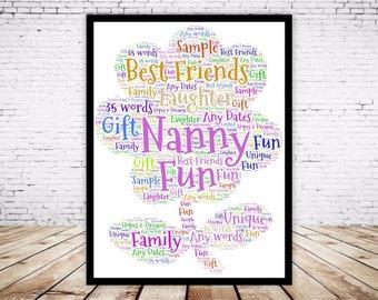 Personalised Word Art Gift Framed Flower, Gift for her, Mum, Nan, Flower Girl, Retirement, 70th 60th Birthday