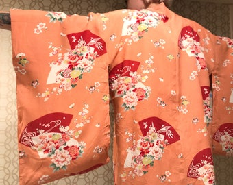 1950s or 60s pink silk kimono with floral print