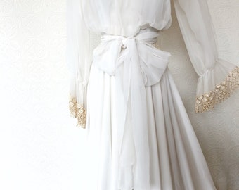 1970's Lace and Rhinestone Detailed Wedding Gown