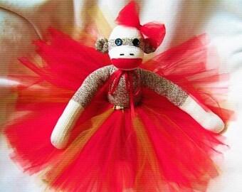 Sock Monkey Prima Ballerina Red Tutu Doll Toy Stuffed Animal Handmade Rockford Red Heel Socks