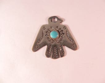 Vintage Thunderbird Pendant/Fob Native American Indian Navajo With Turquoise Setting