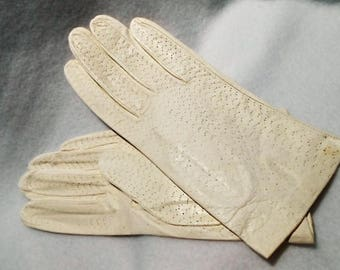 Vintage White to Cream Perforated Kidskin French Gloves, Size 7, c. 1960