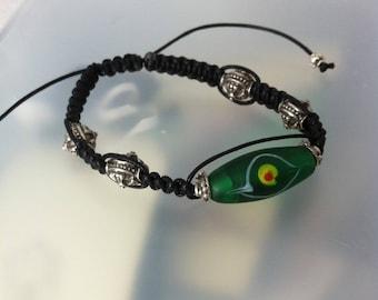 Shamballa bracelet with green African bead