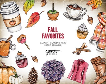 FALL Favorites, Pumpkin Spice Latte, Mums, Scarf, Boots, Cardigan Sweater, Pinecone, Caramel Apple, Cider, Watercolor, Clipart, PNG, 300dpi