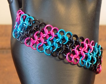 Blue, Pink and Black European Weave Chainmaille Bracelet