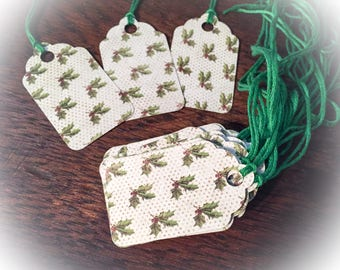 Gift tags, paper tags, holly tags, Christmas tags, tags, gift wrapping, holly paper, gifts, labels