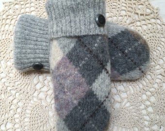 Argyle wool mittens-Upcycled recycled warm grey argyle pattern felted wool mittens- made from sweaters
