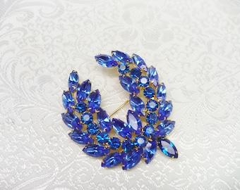 Vintage 2 Tone Blue Rhinestone Brooch - OR - Necklace - vintage bridal - gold tone metal - repurpose vintage - upcycle vintage - stunning