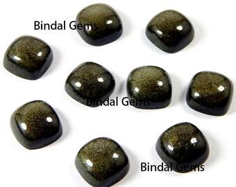 10 Pcs Natural Gold Sheen Obsidian Cushion Shape Smooth Calibrated Cabochon Loose Gemstone