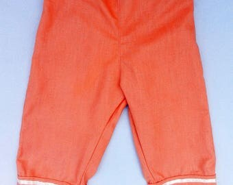 Apricot linen kids Capri pants - 4t