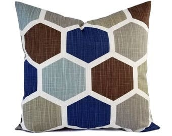 Two Blue Pillow Covers - Geometric Pillow Sham - Blue Throw Pillow - Blue Decorative Pillow - Brown Pillow Cover - Blue and Brown Pillows