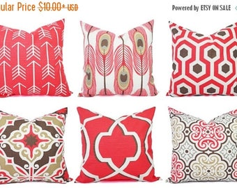 15% OFF SALE Coral Throw Pillow Cover - Coral Pillow Covers - Coral and Brown Pillows - Decorative Pillow - Coral Pillow - Pink Pillow - 16