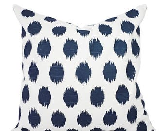 15 OFF SALE Navy Blue Pillow Covers Two Navy Ikat Throw