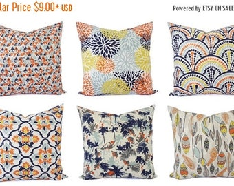 15% OFF SALE Orange Blue Pillow Cover - Orange Pillow Cover - Navy Decorative Pillow - Orange Throw Pillow - Blue Throw Pillow - Lumbar Pill