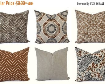 15% OFF SALE Decorative Pillow Cover - Caramel Pillow - Chevron Pillow - Solid Pillow Cover - 16 inch 18 inch 20 inch - Brown Pillow - Grey