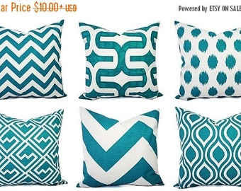 15% OFF SALE One Couch Pillow Cover - One Turquoise and White Pillow Cover - Decorative Throw Pillow - Aqua Cushion Cover - Teal Accent Pill