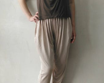 Harem Pants/Wide leg pants /Jersey pants/Ivory pants