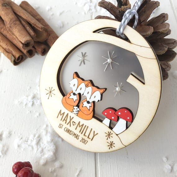 Baby twin's fist christmas fox bauble - personalised tree decoration - christmas decoration