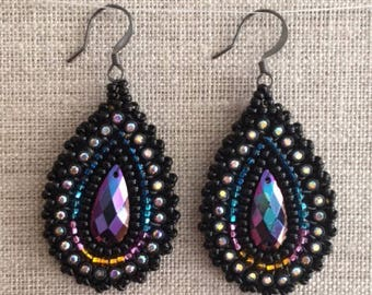 Oil Drops - Dangle Teardrop Earrings (small)