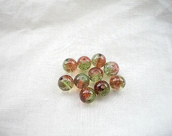 10 green brown 8mm Crackle glass beads